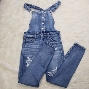 AEO Distressed Stretch Skinny Jegging Overall
